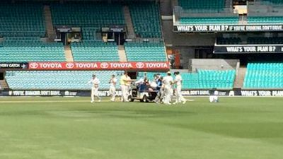 Team mates rush to the cricketer moments after he fell. (Supplied)