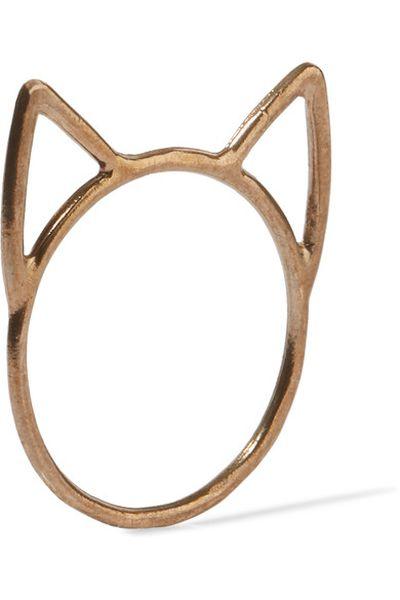 """Catbird Lovecats gold-tone ring, $45 at <a href=""""https://www.net-a-porter.com/au/en/product/824731/Catbird/lovecats-gold-tone-ring"""" target=""""_blank"""">Netaporter.com</a>"""