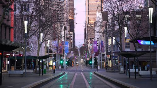A very quiet Bourke Street is seen on August 11, 2020 in Melbourne, Australia.