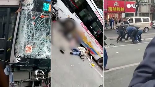 Eight people have been killed and 22 injured after a knife-wielding man hijacked a bus and it crashed into a crowd in southeast China, state broadcaster CCTV says.