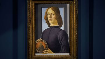 """Sandro Botticelli's """"Young Man Holding a Roundel"""" is displayed at Sotheby's in New York, Friday, Jan. 22, 2021"""