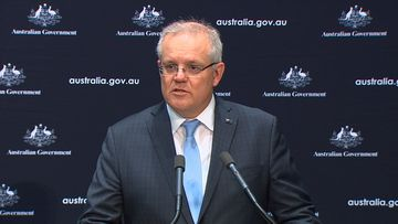 Prime Minister Scott Morrison speaking in Canberra today.