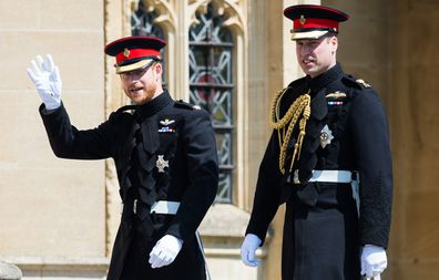 The brothers ahead of Harry and Meghan's wedding at St George's Chapel, Windsor Castle on May 19, 2018 in Windsor.