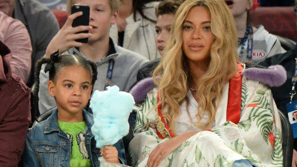 Blue Ivy and Beyonce at the basketball in Gucci