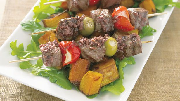 Lamb skewers with olive tapenade