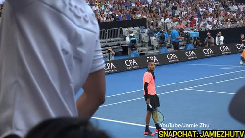 """Kyrgios responded to the interruption by shouting for Zhu to """"shut the f--- up"""". (YouTube/Jamie Zhu)"""