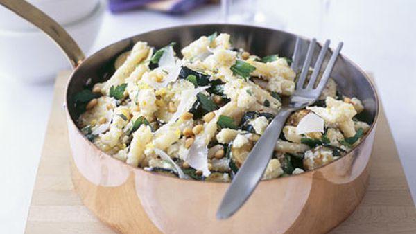 Casarecce with zucchini, chilli, ricotta and mint