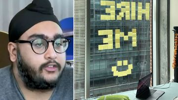 "Gursimran Singh spelled out the words ""HIRE ME,"" hoping to catch the attention of somebody at NCR."