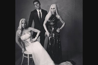 @vanityfair: This just happened in our #oscars portrait studio. @ladygaga @versace_official and @nolanfunk. Photo by @markseliger. #vfoscars