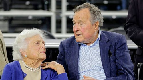 Mrs Bush with her husband President George H.W. Bush in 2015. (AP)