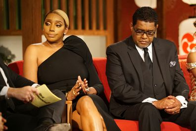 """NeNe Leakes (left) and husband Gregg Leakes (right) during the The Real Housewives of Atlanta """"Reunion"""""""