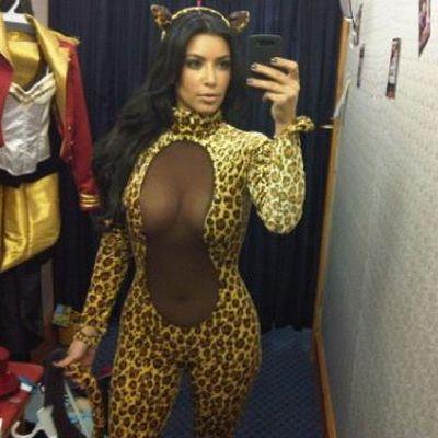 Kim Kardashian dressed as a leopard for Halloween, 2012
