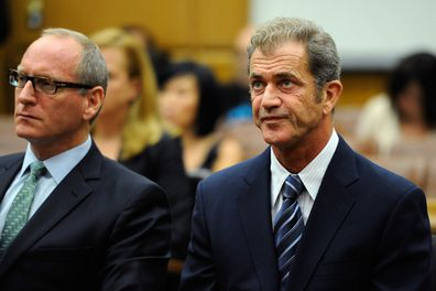 Mel Gibson and his attorney at a hearing in Los Angeles  to finalize financial issues in a long-running custody battle between Mel Gibson and former girlfriend Oksana Grigorieva.