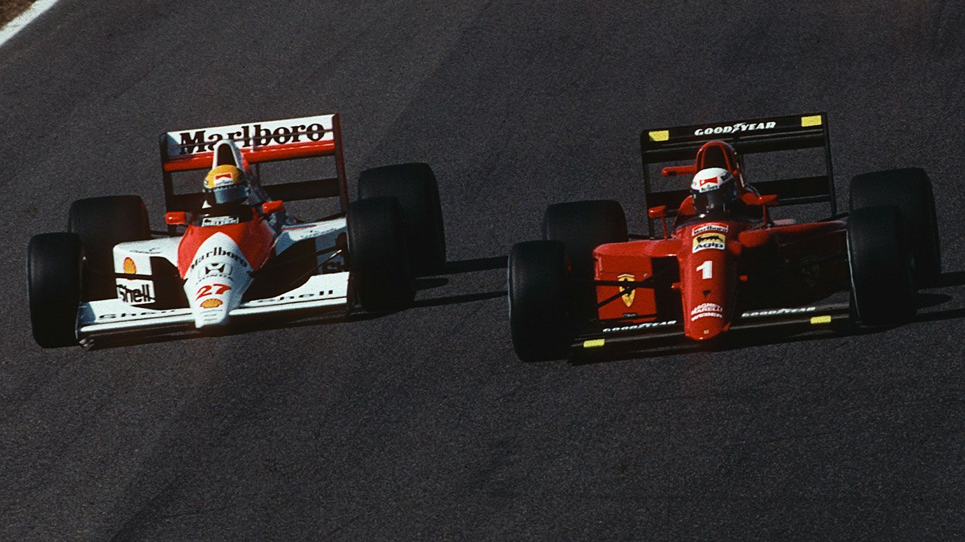 Ayrton Senna (left) and Alain Prost just before they collided at the 1990 Japanese Grand Prix.