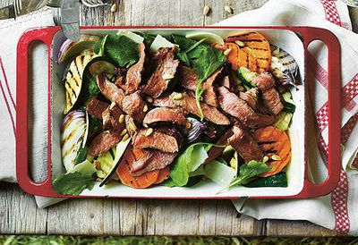 "Recipe: <a href=""/recipes/ibeef/9018321/grilled-beef-rump-steak-zucchini-sweet-potato-and-rocket-salad"" target=""_top"">Grilled beef rump steak salad</a>"