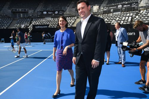 NSW Premier Gladys Berejiklian (left) and Minister for Sport Stuart Ayres arrive at Ken Rosewall Arena in Sydney,