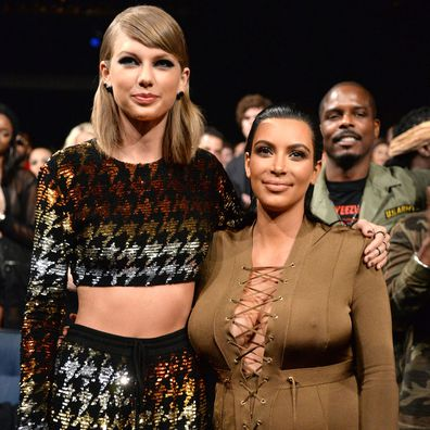 Taylor Swift and Kim Kardashian at the 2015 Grammy Awards
