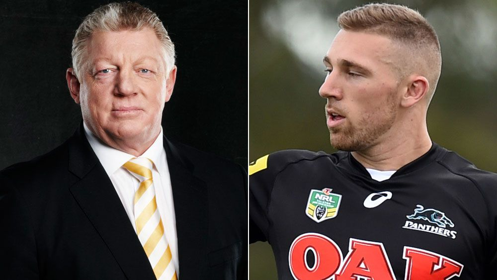 Channel Nine's Phil Gould (l) and Penrith back-rower Bryce Cartwright.