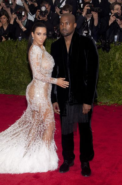 Kim Kardashian in Roberto Cavalli with Kanye West at th 2015 Met Gala.