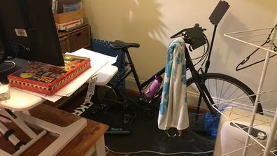 My simple, Zwift set-up: Not the flashiest but more than did the job.