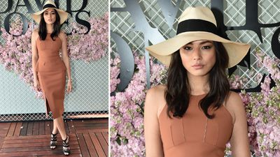 Model Jessica Gomes oozed retro glamour in Scanlan Theodore. (AAP)