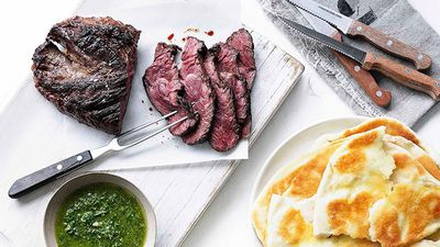 "Recipe: <a href=""http://kitchen.nine.com.au/2016/05/16/15/29/hanger-steak-with-chimichurri-and-yoghurt-flatbread"" target=""_top"">Hanger steak with chimichurri and yogurt flatbread</a>"