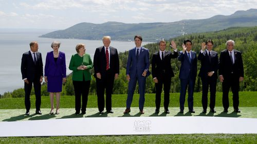 Leaders of an array of G7 nations pose for a photo. Picture: AP