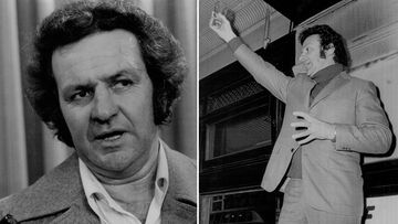 Jack Mundey at Sydney Airport in 1977 (left), and the union leader speaking at a protest meeting at the Newcastle Hotel at the Rocks in 1972 (right).