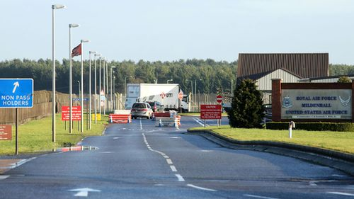 The man tried to drive through the checkpoint at RAF Mildenhall. (AAP)