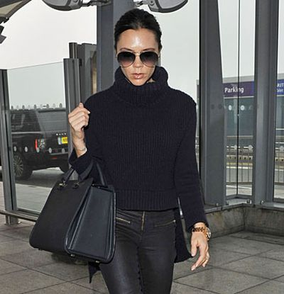 Grab your magnifying glass and see if you can spot a baby belly as teeny-tiny Victoria Beckham breezes through pregnancy in towering heels and spray-on pants!