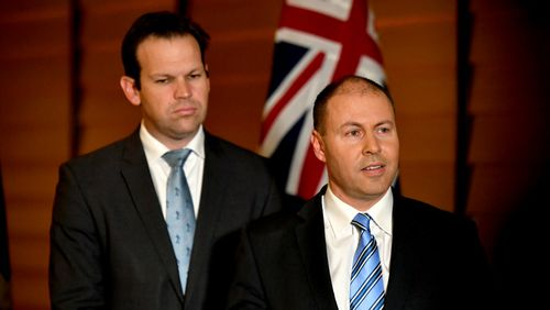 Minister for Resources Matt Canavan and Minister for Energy Josh Frydenberg at a press conference after COAG.