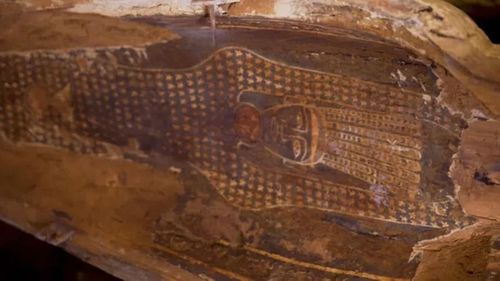 Intricate detailing was still visible on the 2500-year-old coffins.