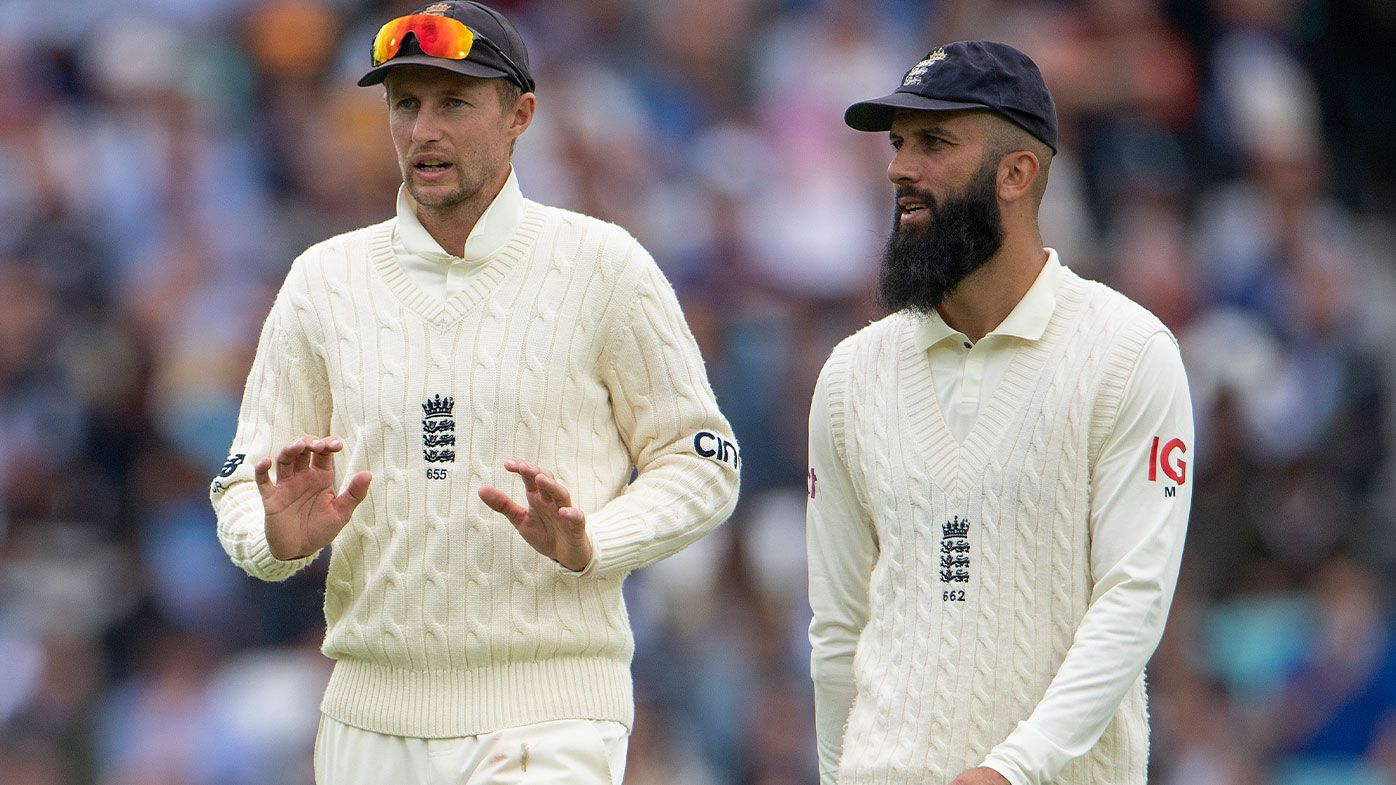 England captain Joe Root and Moeen Ali during the Fourth LV= Insurance Test Match: Day One between England and India at The Kia Oval on September 02, 2021 in London, England. (Photo by Visionhaus/Getty Images)