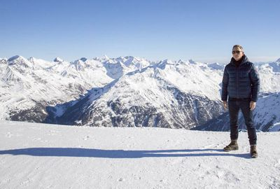 On-set pictures: Mr Craig up against the Tyrolean Alps.