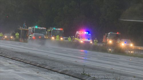 A truck rolled over this morning, colliding with at least two other vehicles.
