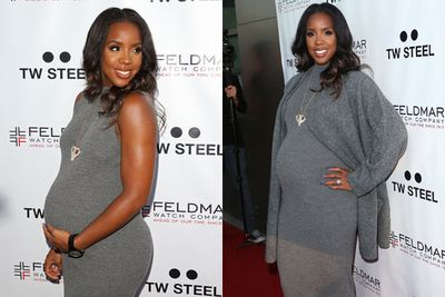 Kelly Rowland looks adorable in figure-hugging grey and statement jewellery.