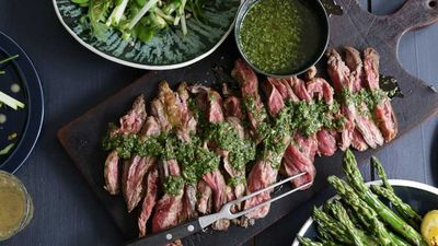 "Recipe: <a href=""https://kitchen.nine.com.au/2017/02/07/13/01/jacqueline-alwills-skirt-steak-with-chimichurri"" target=""_top"">Jacqueline Alwill's skirt steak with chimichurri</a>"