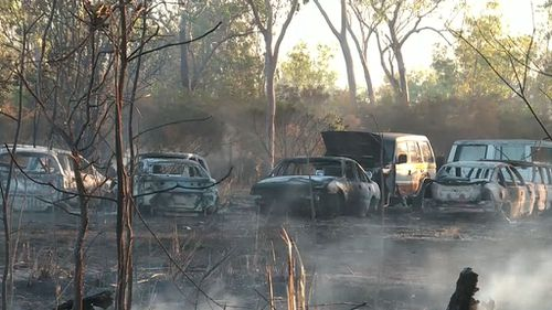Multiple cars have been charred, along with two homes and at least 160 hectares of land. (9NEWS)