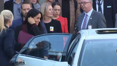 All eyes on the Royal baby bump as Meghan and Harry begin Aussie tour