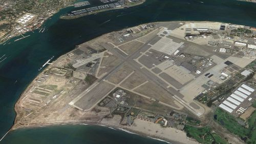 The aircraft came off the end of Runway 29 at the North Island Naval Station in San Diego, pictured here. (Google Earth)