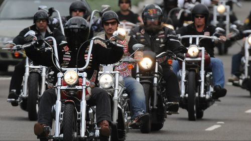 Members of the Hells Angels rode with the hearse that carried Zervas's body to the cemetery. (AAP)