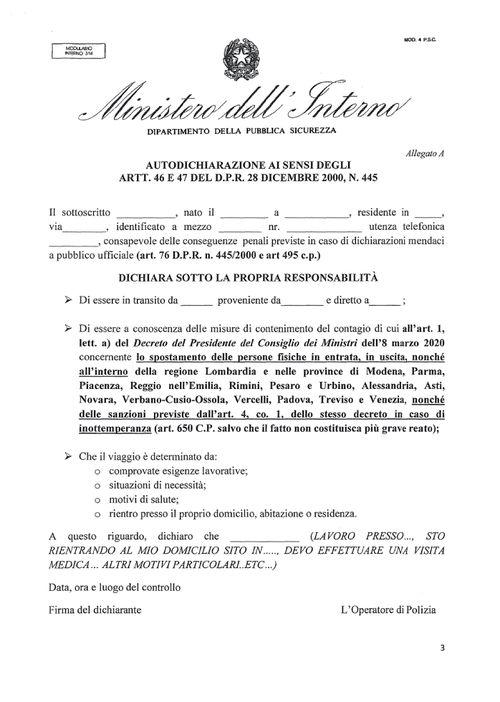 Coronavirus travel declaration