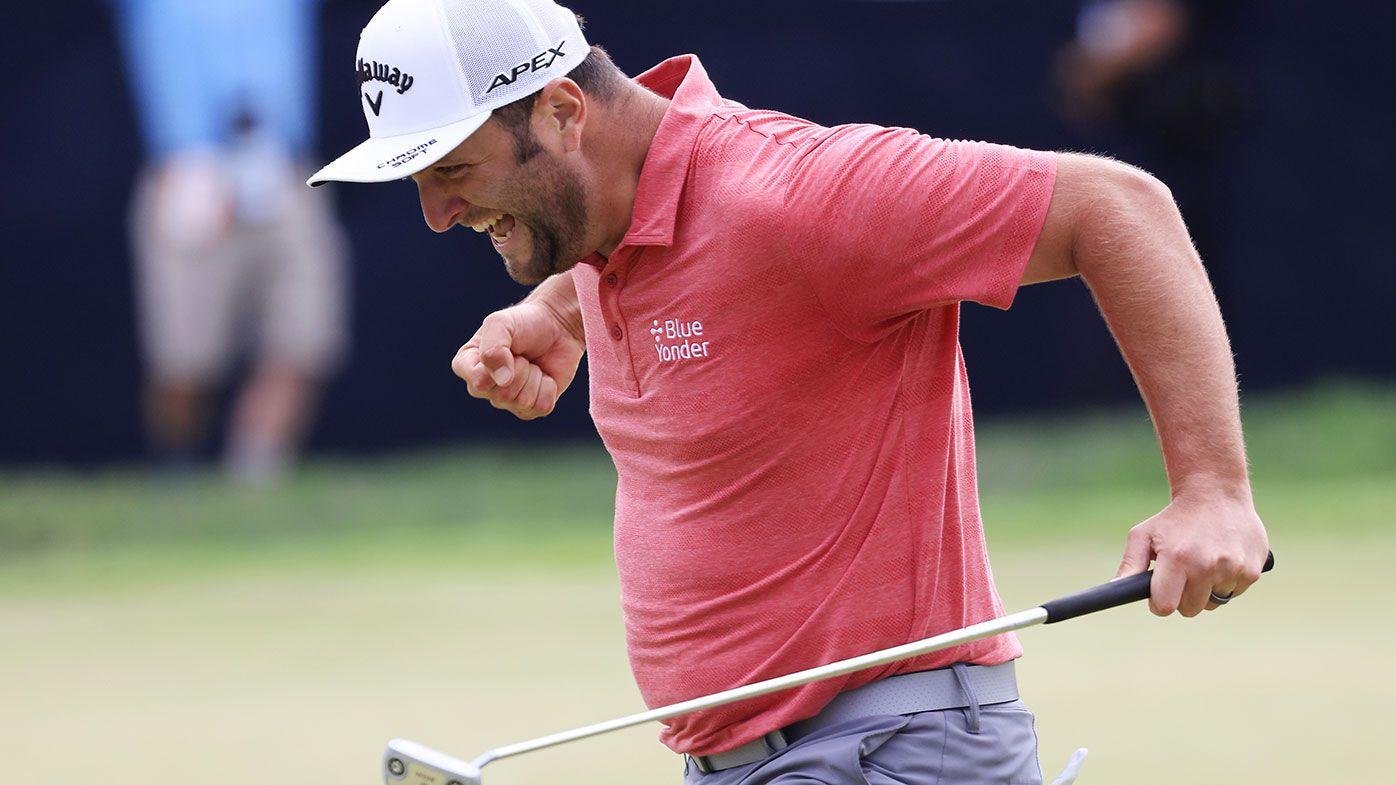 Jon Rahm celebrates his birdie at the 72nd hole of the US Open.