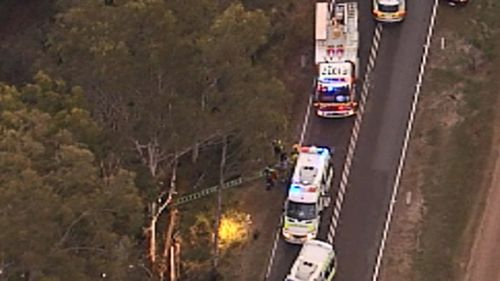 The crash occurred on a country road between Brisbane and Toowoomba. (9NEWS)