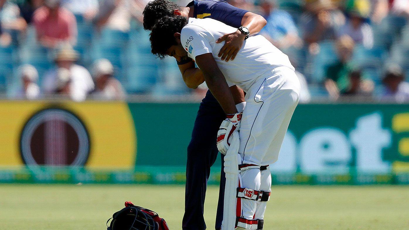 Sri Lankan batsman Kusal Perera forced to retire hurt after receiving nasty blow
