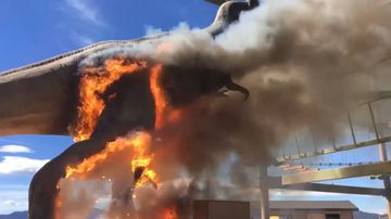 Life-size T-Rex bursts into flaming inferno