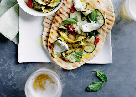 Char-grilled zucchini and mozzarella piadine