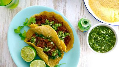 """Recipe:<a href=""""https://kitchen.nine.com.au/2016/07/18/11/18/jacqueline-alwills-slow-cooked-mexican-beef-with-cucumber-apple-and-jalapeno-salsa"""" target=""""_top"""">Jacqueline Alwill's slow cooked Mexican beef with cucumber, apple and jalapeño salsa</a>"""