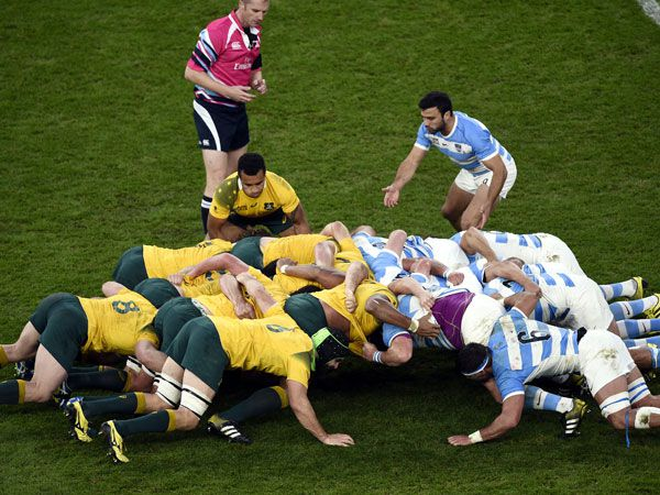 The Wallabies scrum came under fire against Argentina. (AFP)