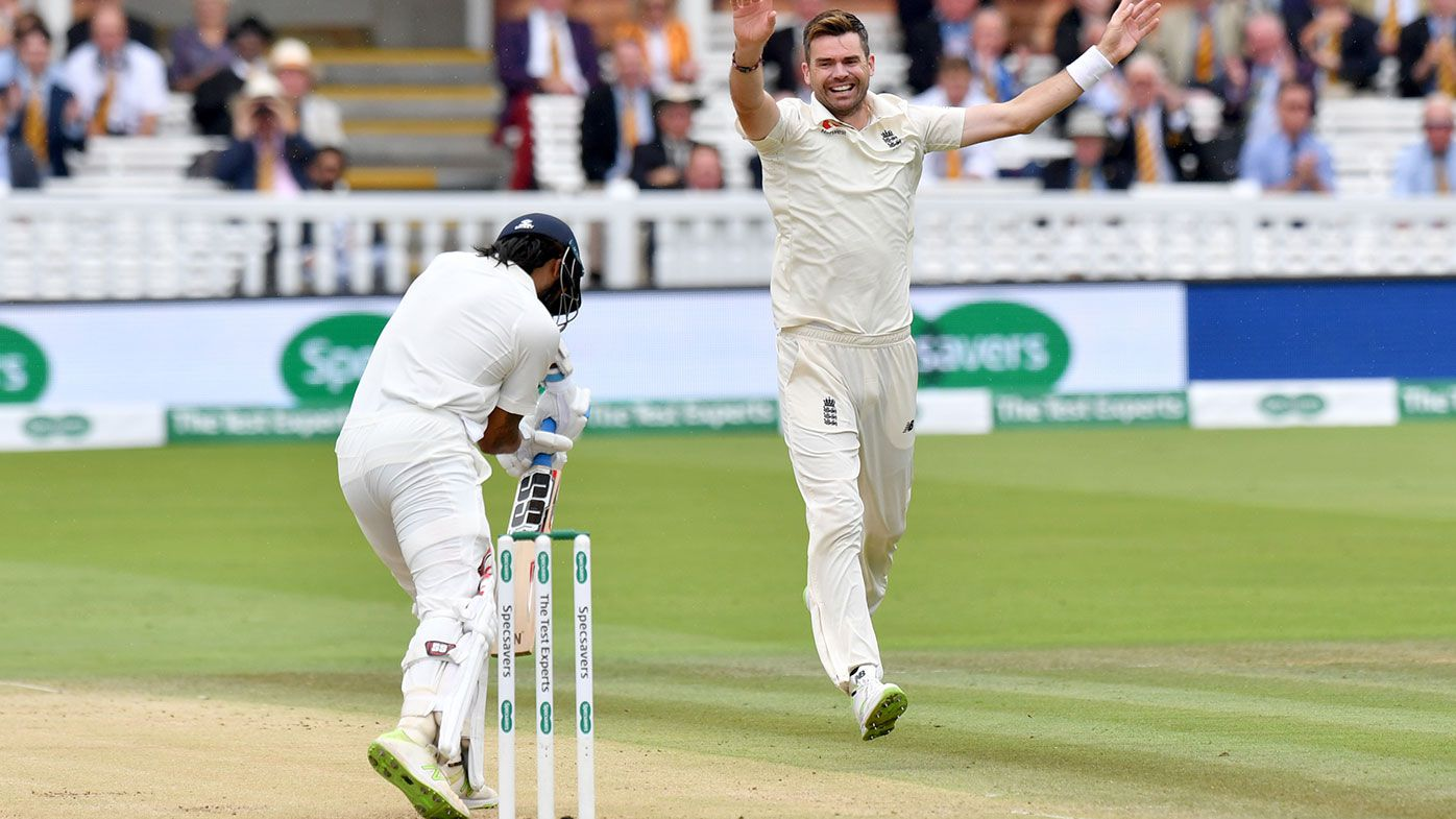 James Anderson celebrates his 100th Test wicket at Lord's